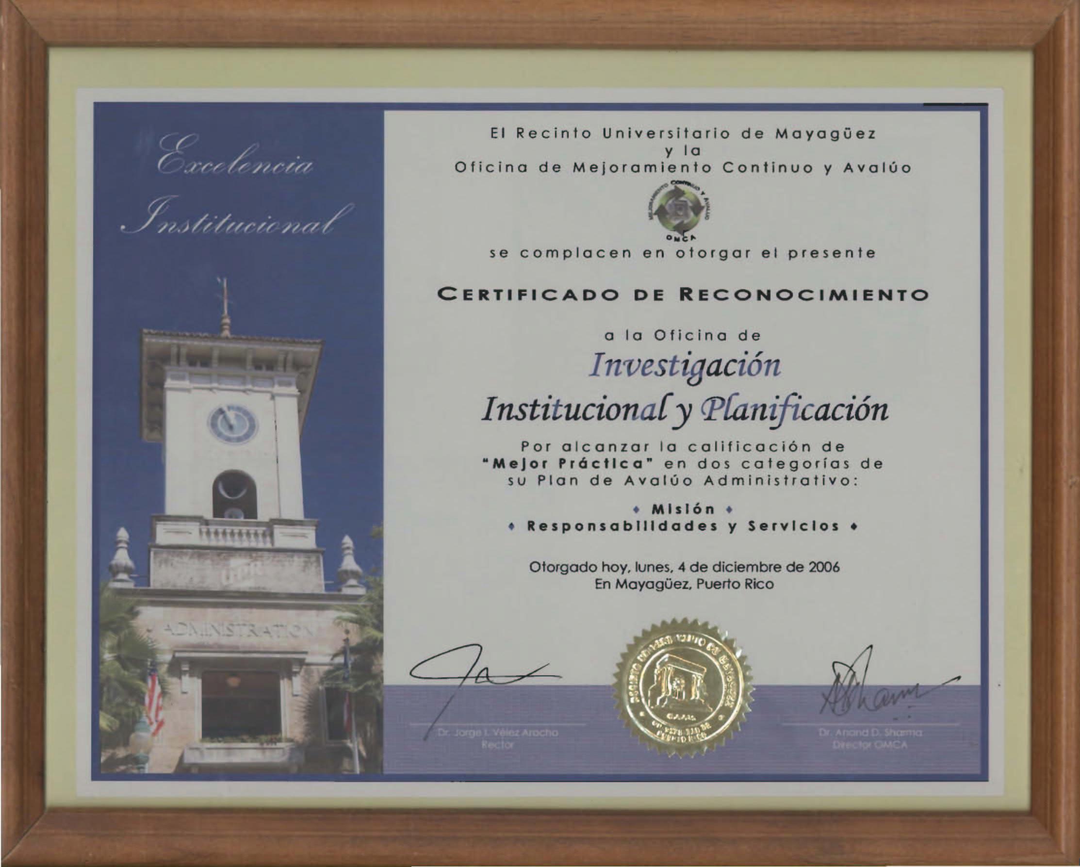 certificados de reconocimiento a oiip